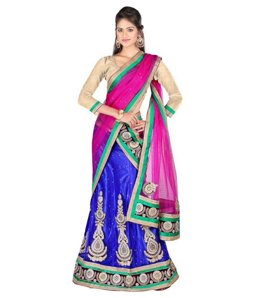 Anu Clothing Blue Net Lehenga