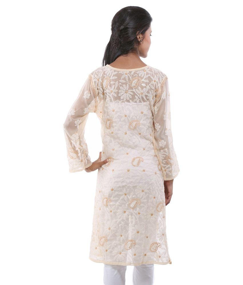 5657ffdbd ... Ada Lakhnavi Chikankari Hand Embroidery White Faux Georgette Kurti by  Ada ...