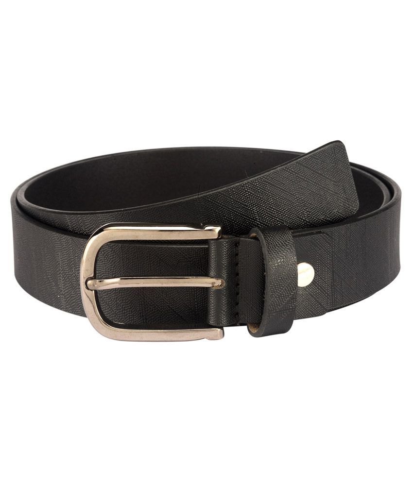 Contrast Men Formal Black Genuine Leather Belt (Black-09)