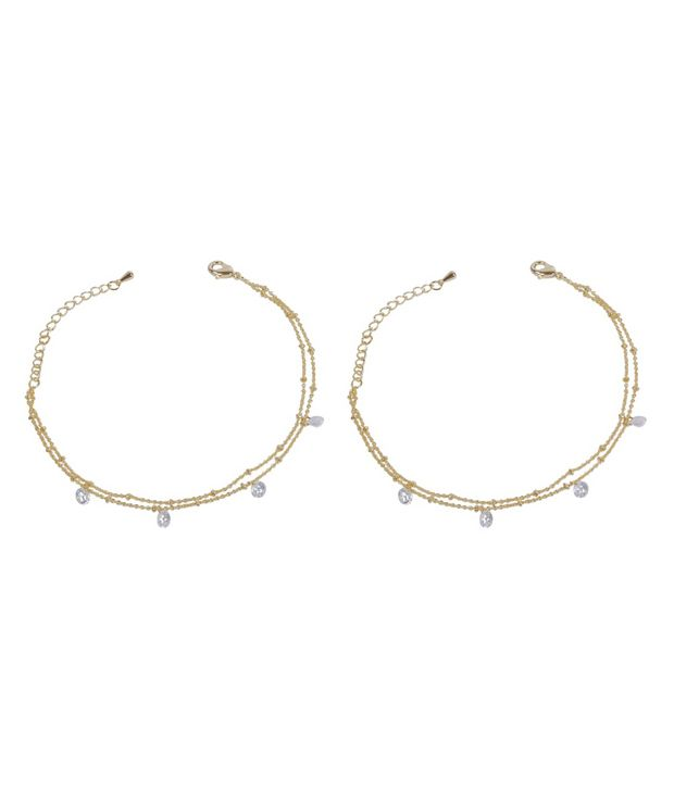 Much More Gorgeous Bollywood Style Design Gold Plated 1 Pair Fashion Anklet/Payal