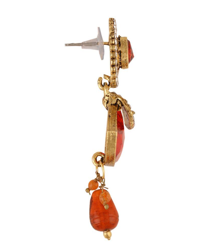 Sixmeter Jewels Orange Alloy Jhumkis