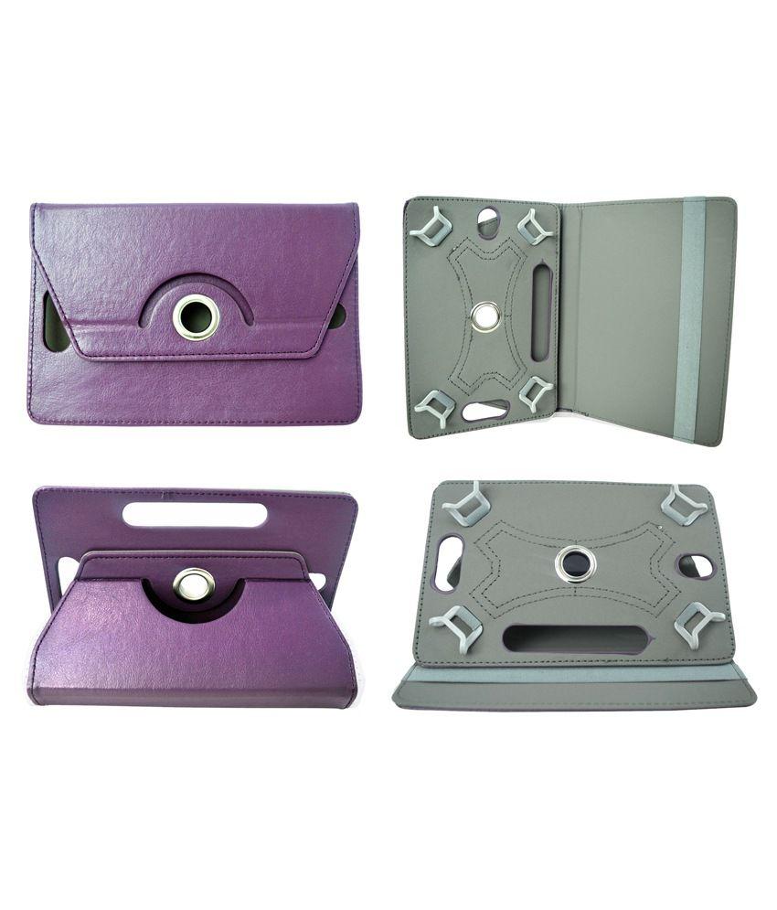 Totta Rotator Tab Book Cover For Micromax Funbook Talk P360 - Purple