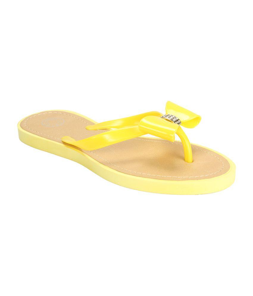 Flipside Womens Sparkling Yellow Flats