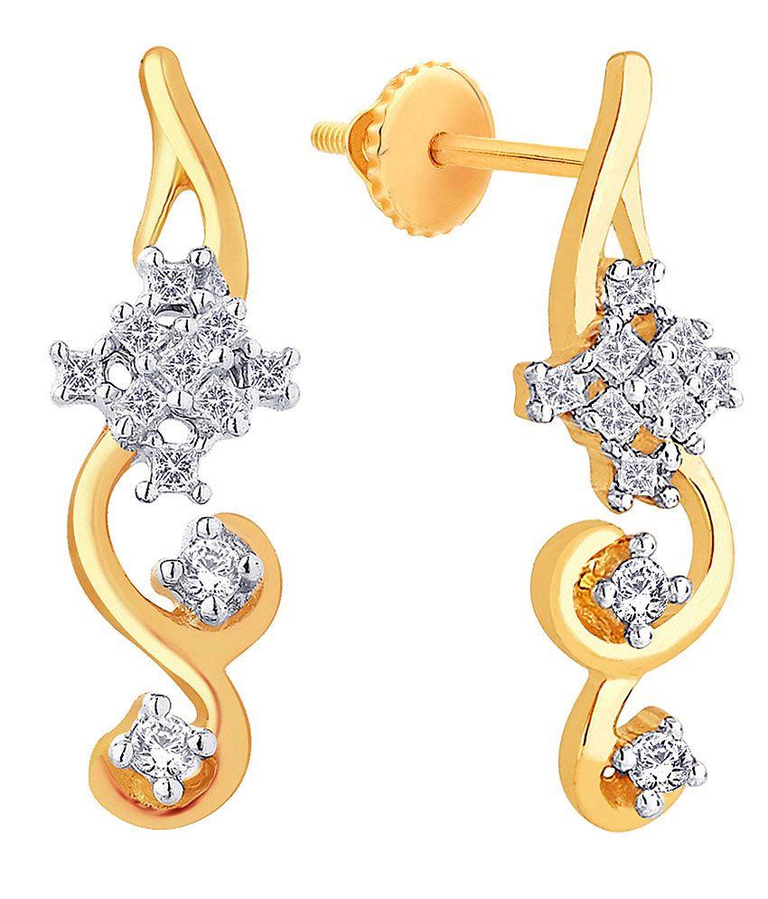 G'Divas Shraddha Kapoor 18 Kt Gold & Diamond Floral Hanging Earrings