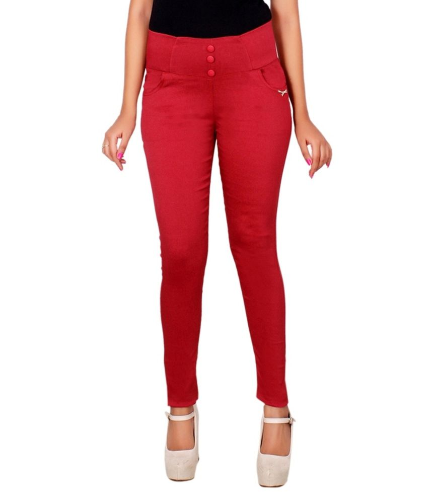 Lgc Maroon Poly Cotton Jeggings