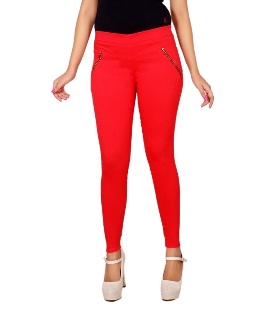Lgc Red Poly Cotton Jeggings