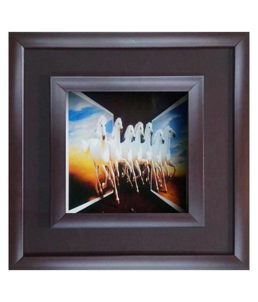 SAF Black Wooden Frame Animal Painting