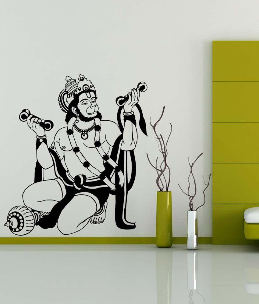Wall stickers buy online - Trends On Wall Black Pvc Hanuman Ji Wall Sticker