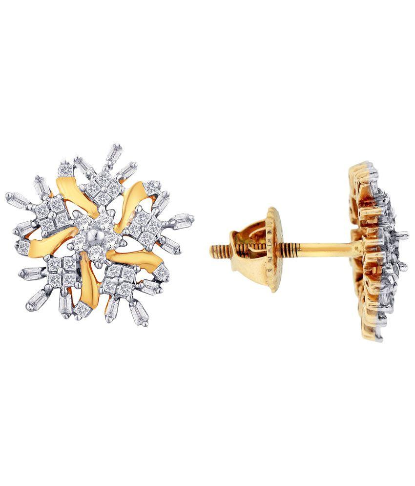 G'Divas 18 Kt Gold & Diamond Stud Earrings