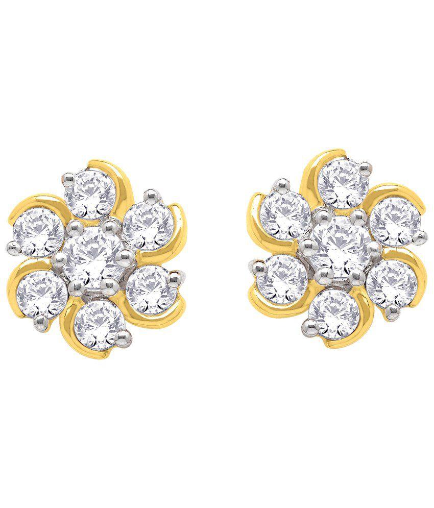 daee01608 Nakshatra 18 Kt Gold & Diamond Floral Stud Earrings: Buy Nakshatra 18 Kt  Gold & Diamond Floral Stud Earrings Online in India on Snapdeal
