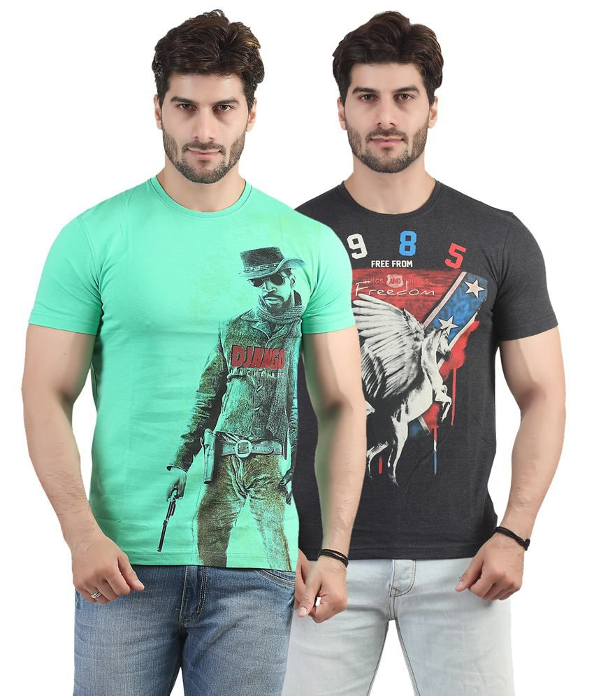 Maniac Multicolor Cotton T-shirt - Pack Of 2
