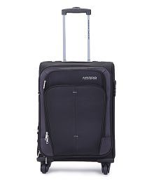 American Tourister Small (Below 60 Cm) 4 Wheel Soft Black Crete Luggage Trolley