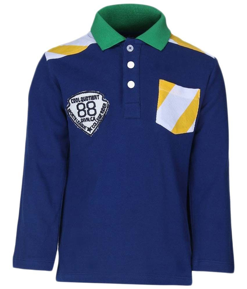 Cool Quotient Blue & Yellow Cotton Polo T Shirt