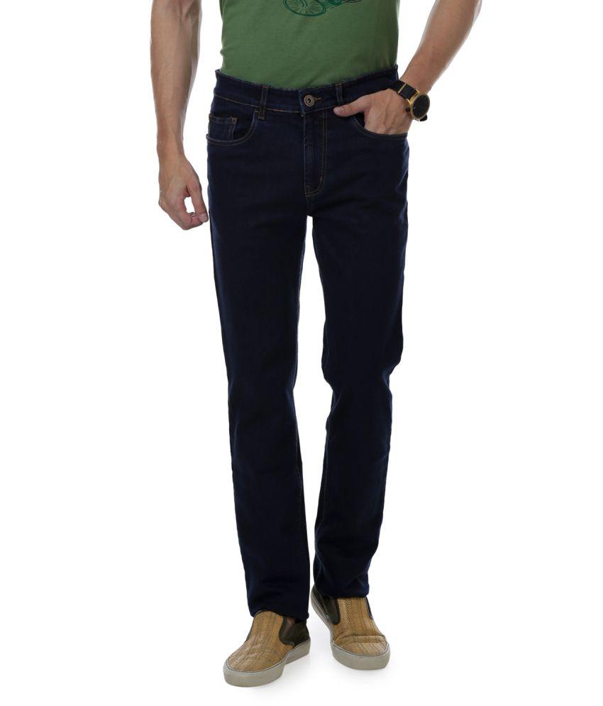 Cotton County Premium Blue Blended Cotton Slim Fit Jeans
