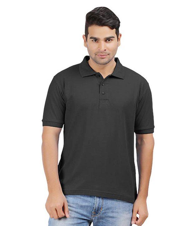 Mrv Black Half Sleeves Basics Polo T-shirt