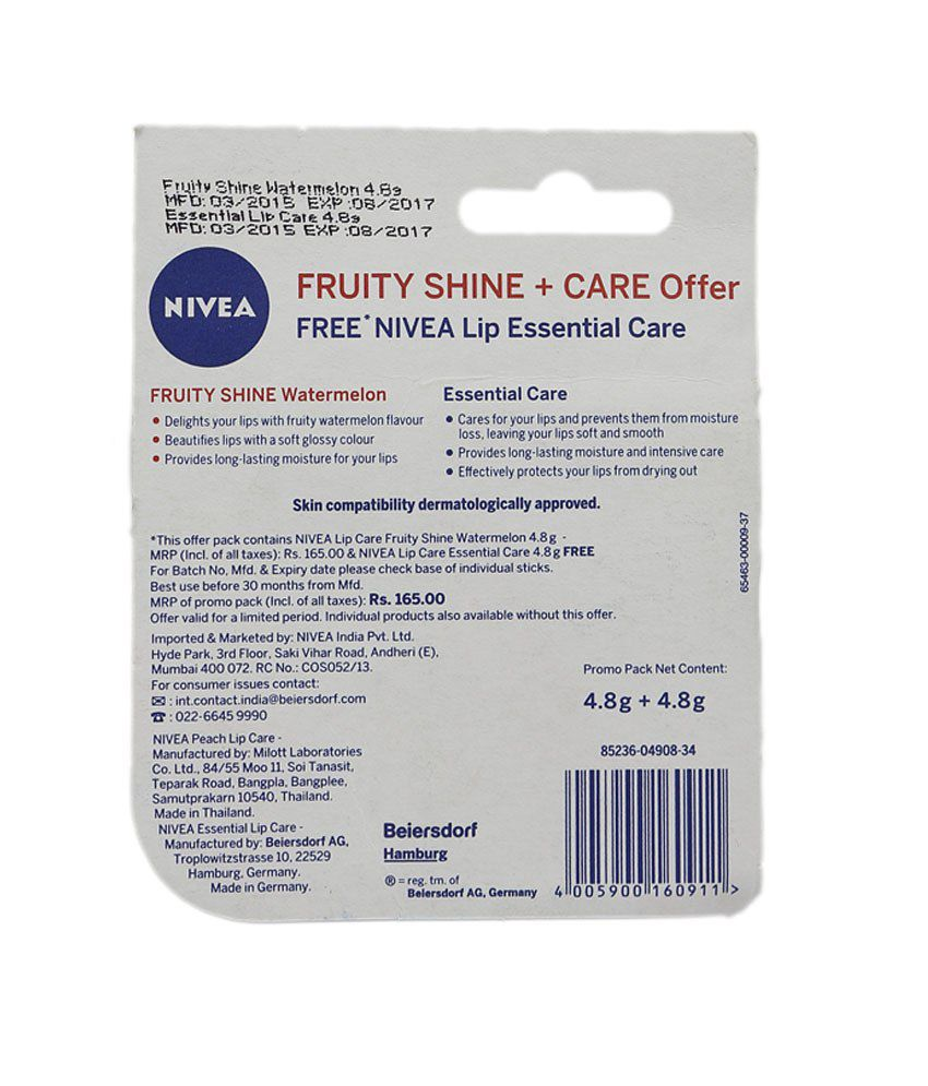 Nivea Fruity Shine Watermelon 48gm Essential Lip Balm Free 1 Get