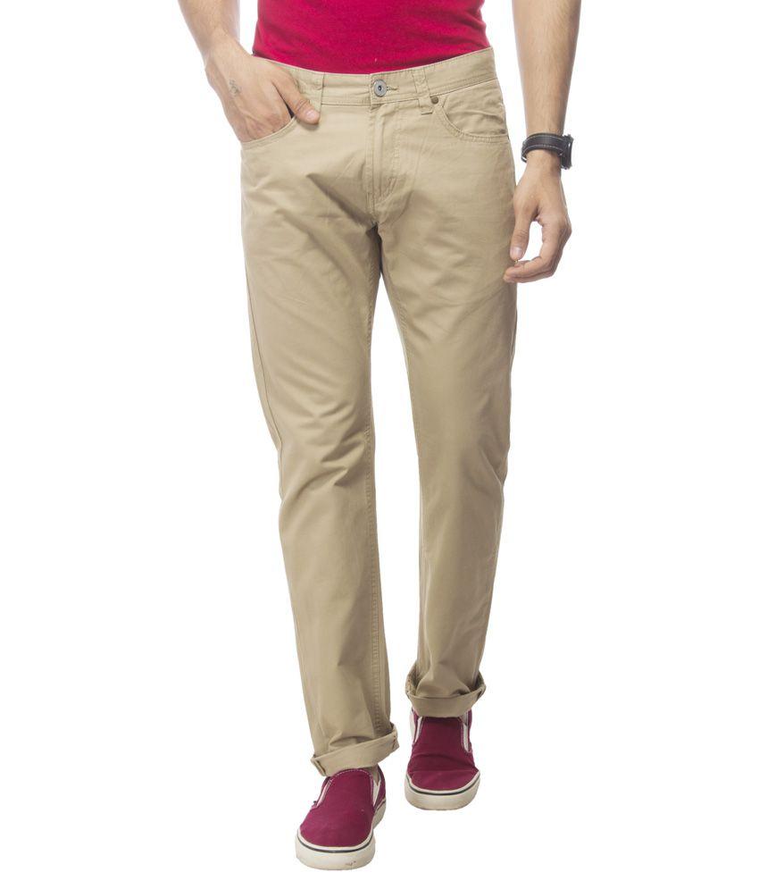 Redesign Beige Regular Fit Casual Wear Trouser