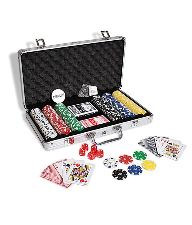 1 Diced Poker Chip set 300 chips With Silver Case Card Shuffler & Freebie: 2 Decks of Fournier Playing Cards