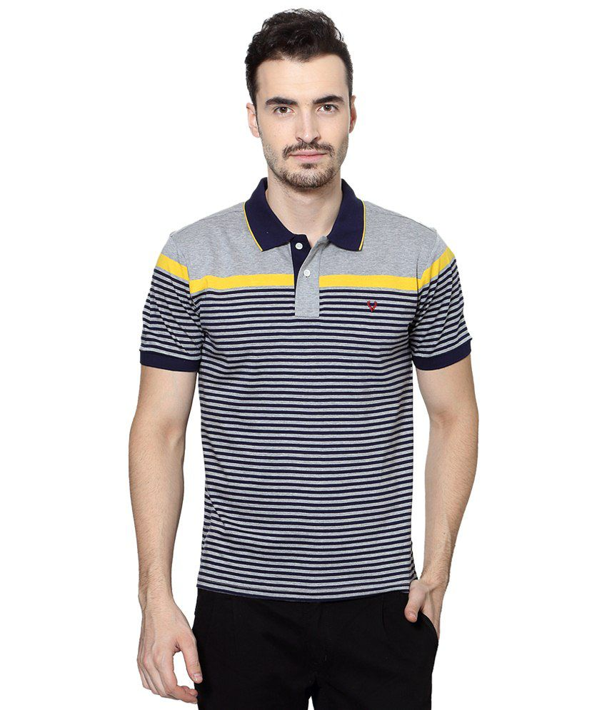 Allen Solly Gray & Blue Striped Casual Polo T Shirt