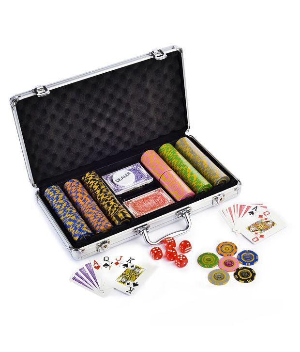 Bluffando Flora Poker Chips Set 300 & Freebie: Card Shuffler