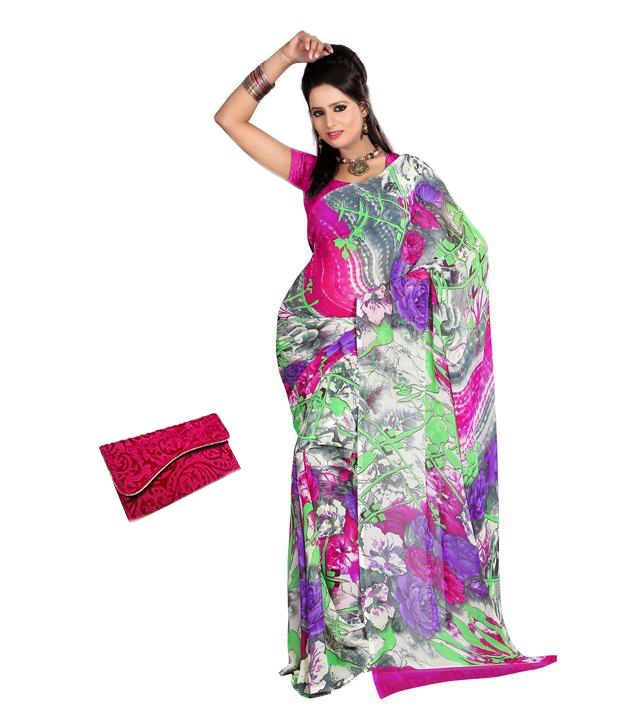 Fabdeal Combo of Purple and Pink Faux Georgette Sarees with Clutch