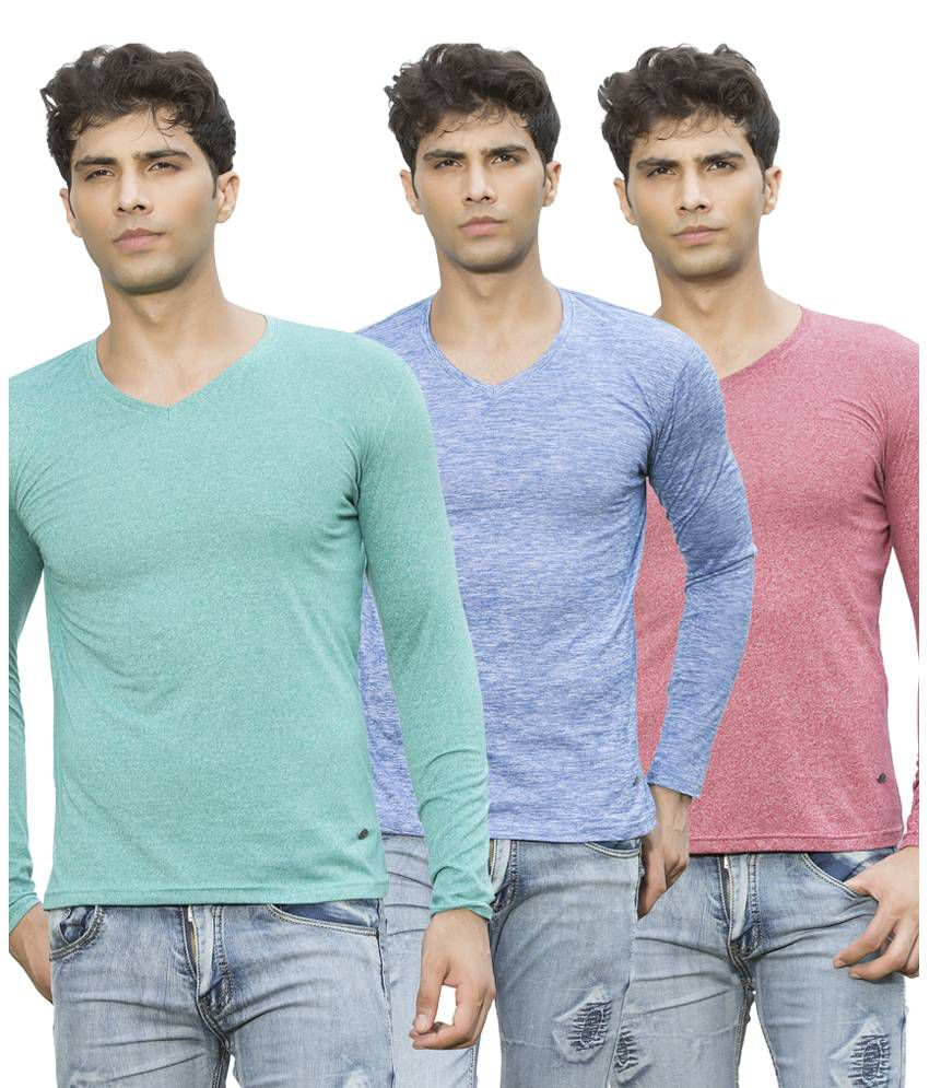 Maniac Multicolour Cotton Blend Basic T-shirt - Pack Of 3