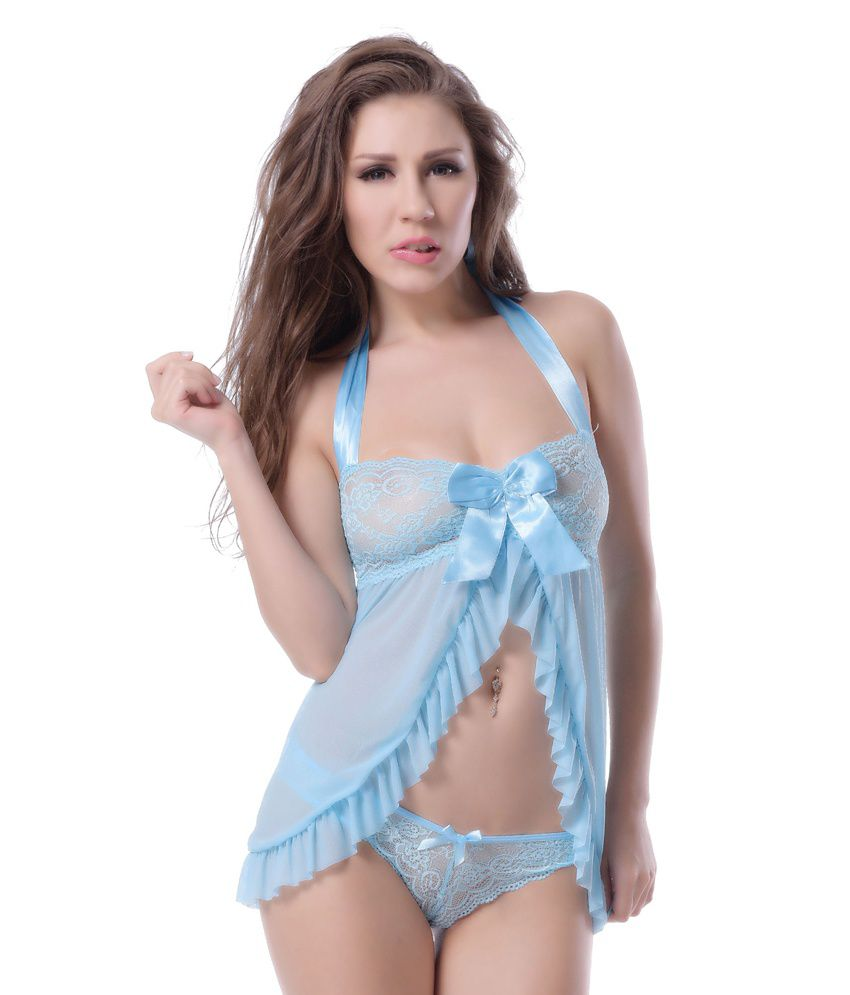 N-gal Blue Polyester Baby Doll Dresses
