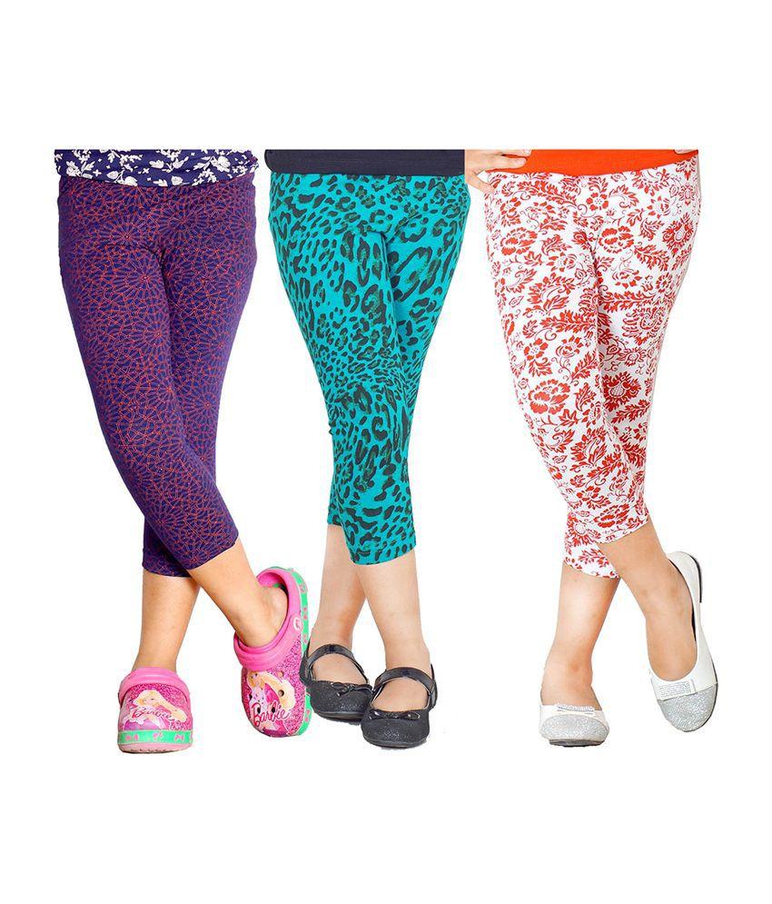 Naughty Ninos Multicolour Printed Cotton Leggings (set Of 3)