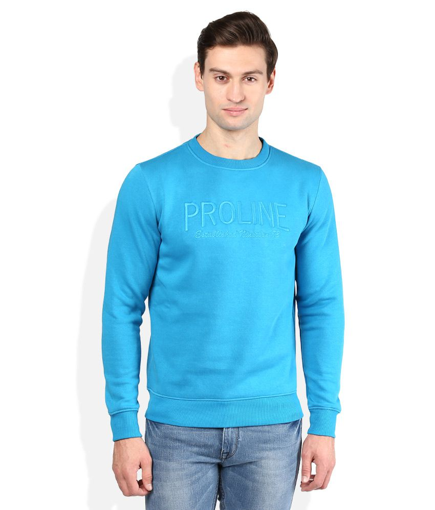 Proline Blue Solid Sweatshirt