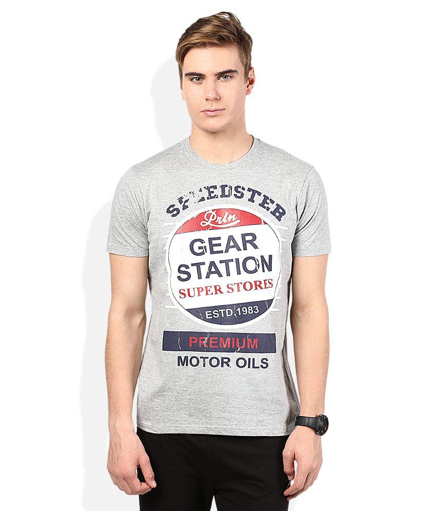 Proline Grey Printed Round Neck T Shirt