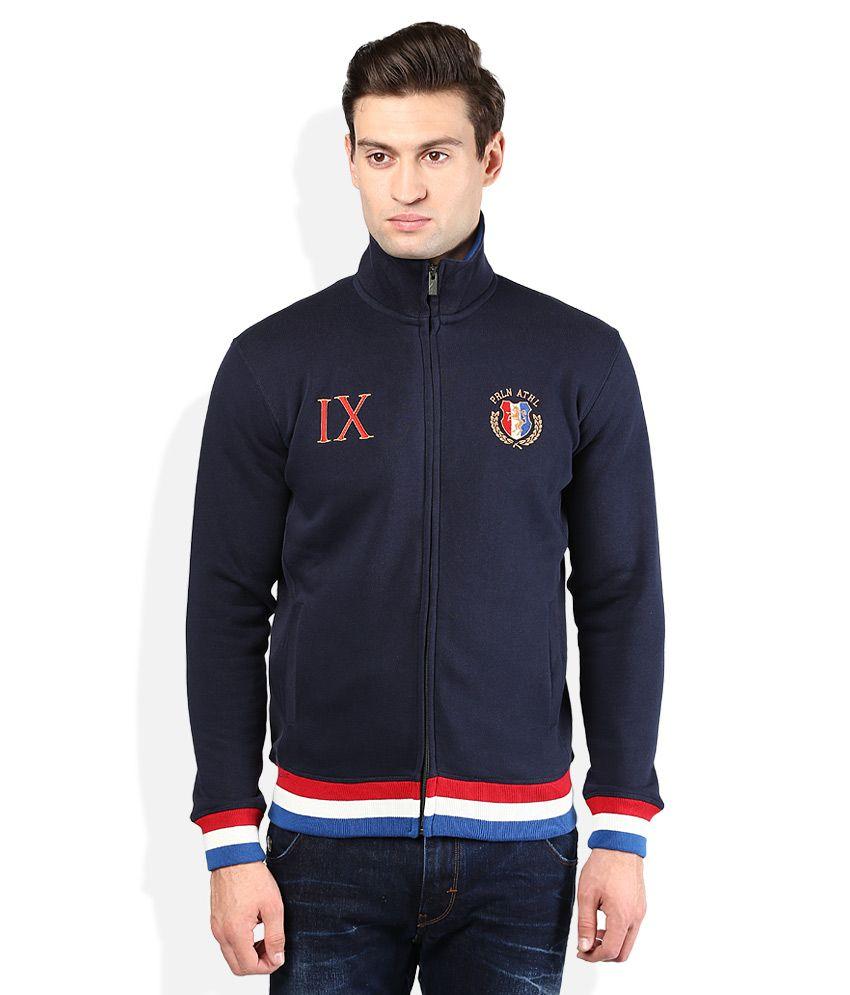 Proline Navy Blue Solid Zippered Sweatshirt