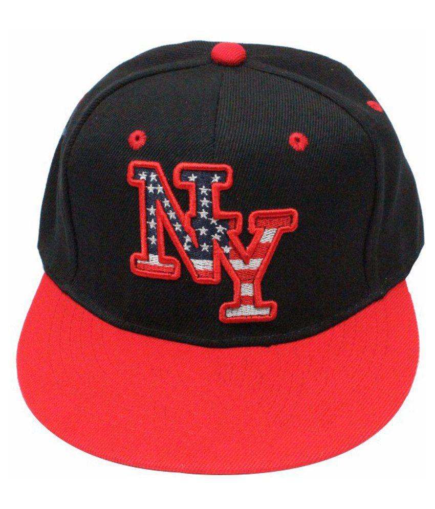 Takeincart Black Polyester NY Snapback Cap