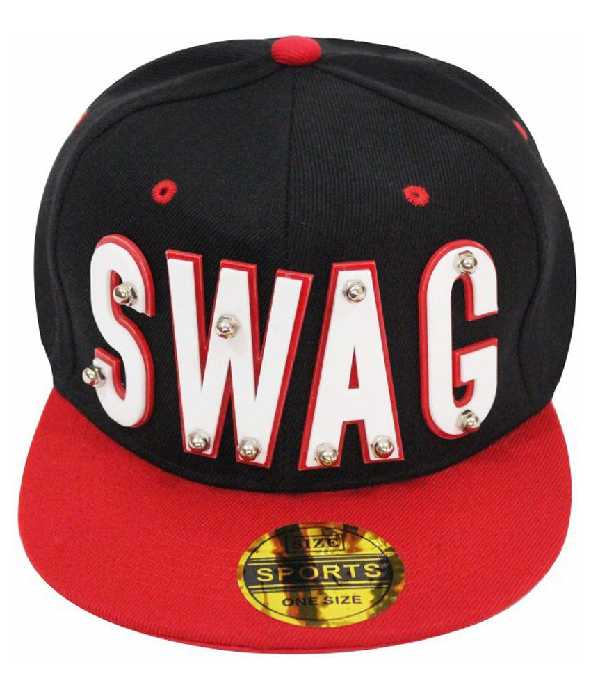 Takeincart Black Polyester Swag 3D Snapback Cap