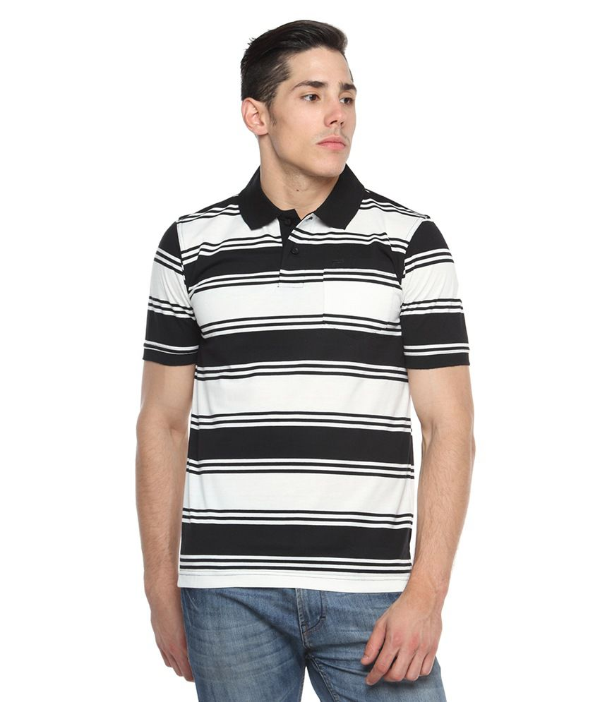 Tempt Black Half Sleeves Stripers Polo T-shirts