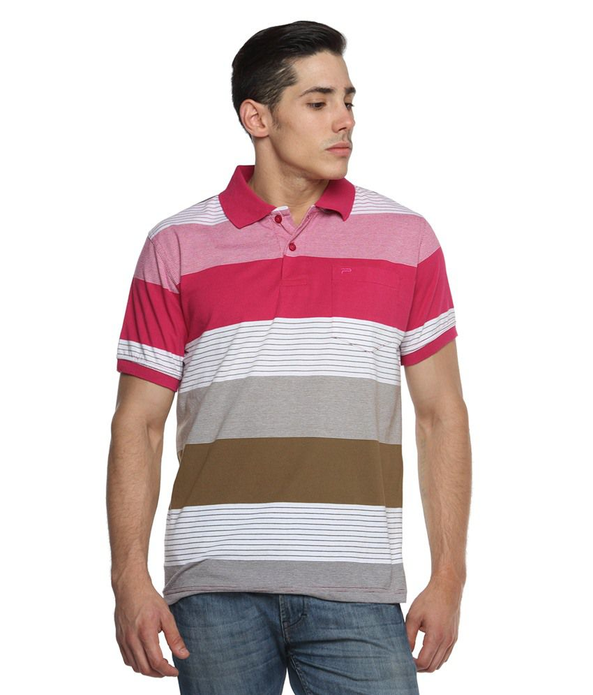 Tempt Red Half Sleeves Stripers Polo T-shirts