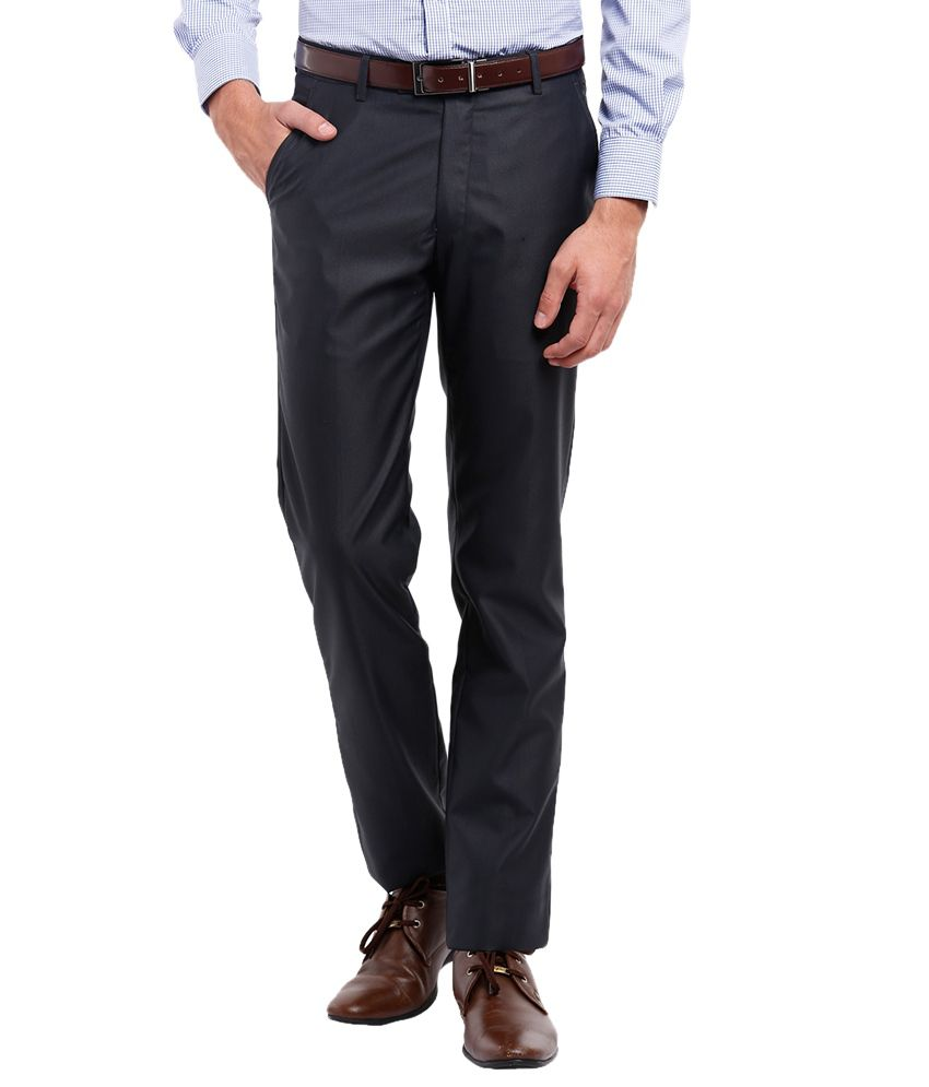 Black Coffee Black Slim Fit Formal Trousers