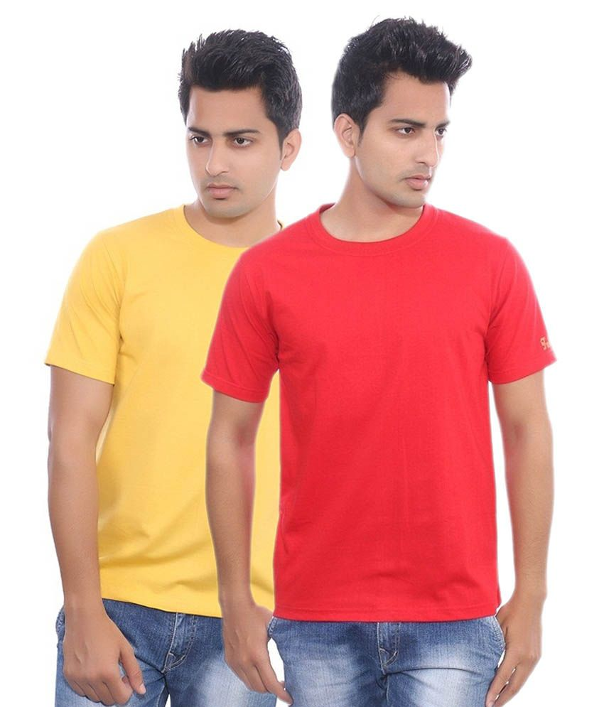 Fabilano Yellow And Red Cotton T-shirt - Pack Of 2