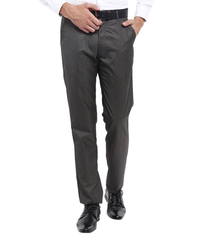 Black Coffee Grey Slim Fit Formal Trousers