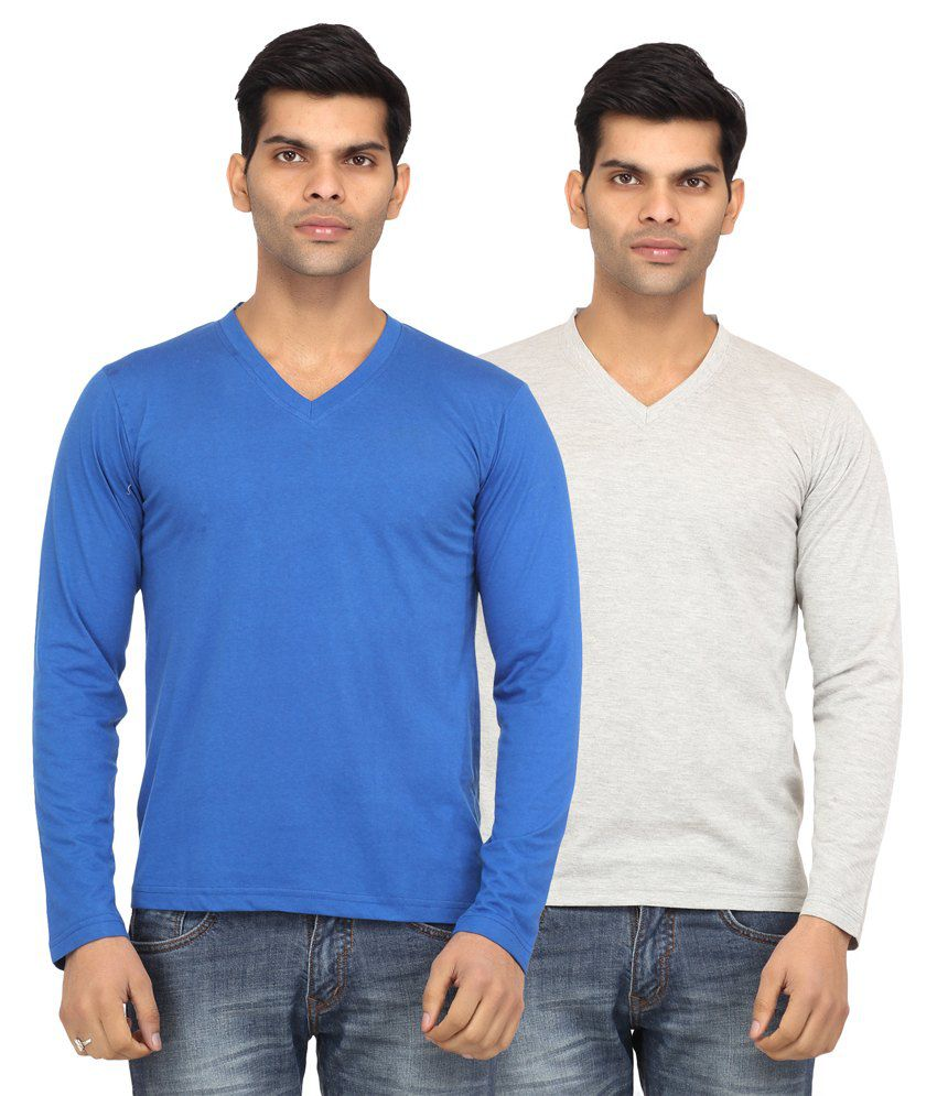 Leana Blue and Grey Full Sleeves Basics Tshirt - Pack of 2