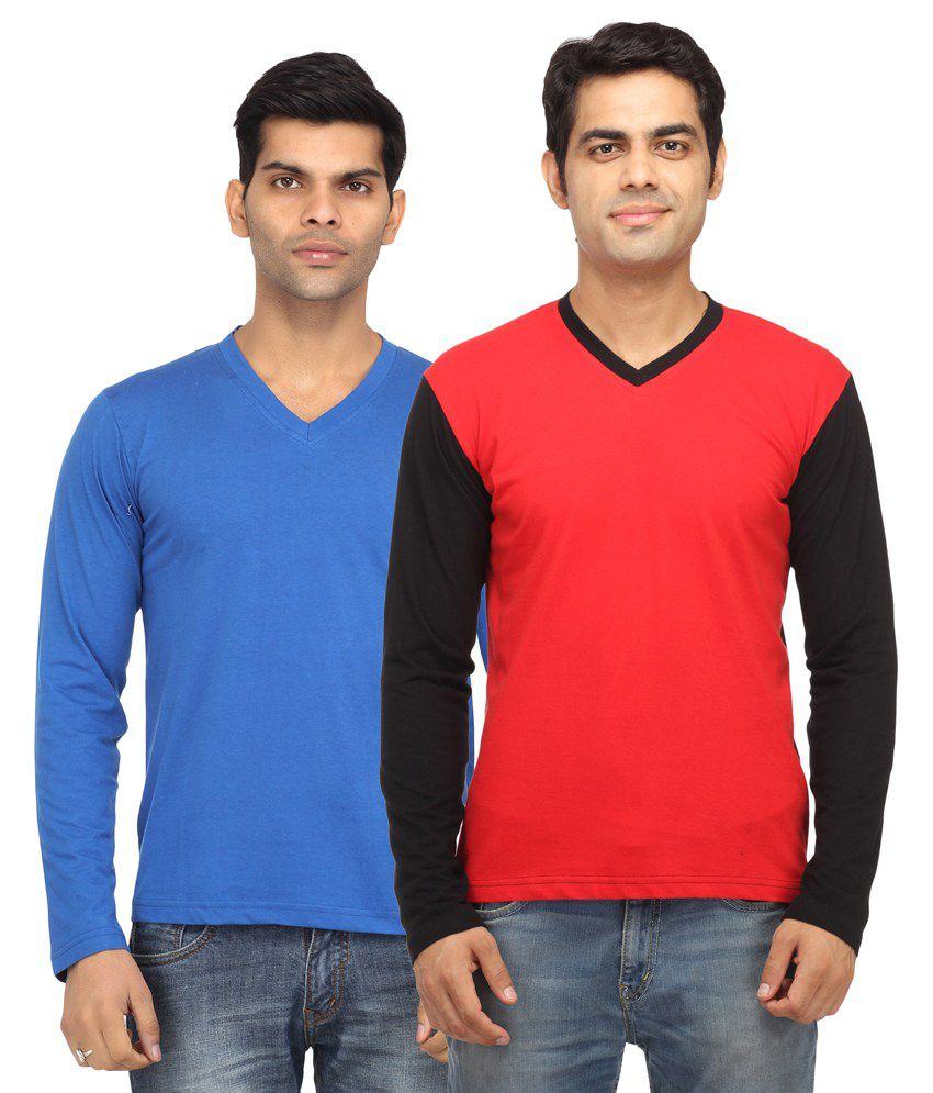 Leana Blue and Red Full Sleeves Basics Tshirt - Pack of 2