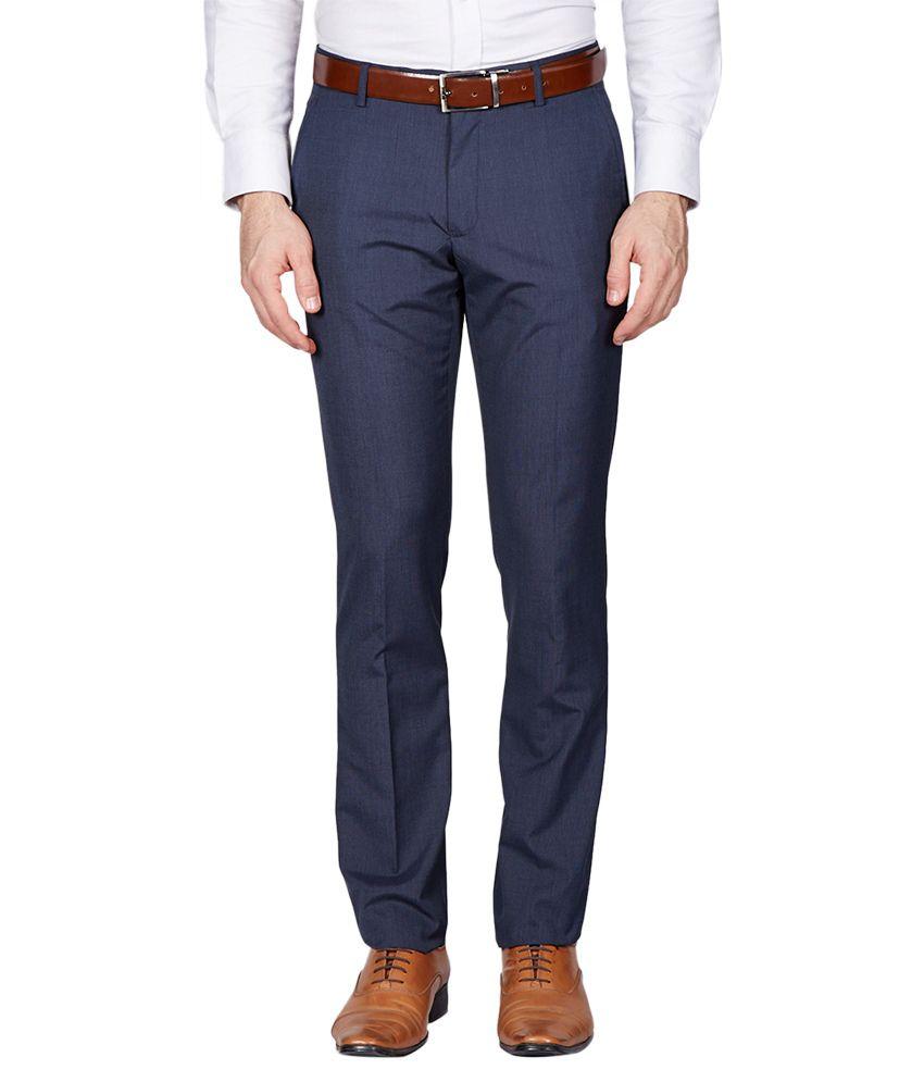 Black Coffee Navy Slim Fit Formal Trousers
