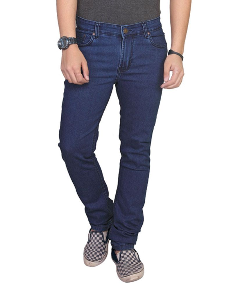 AdBucks Blue Cotton Blend Slim Fit Jeans