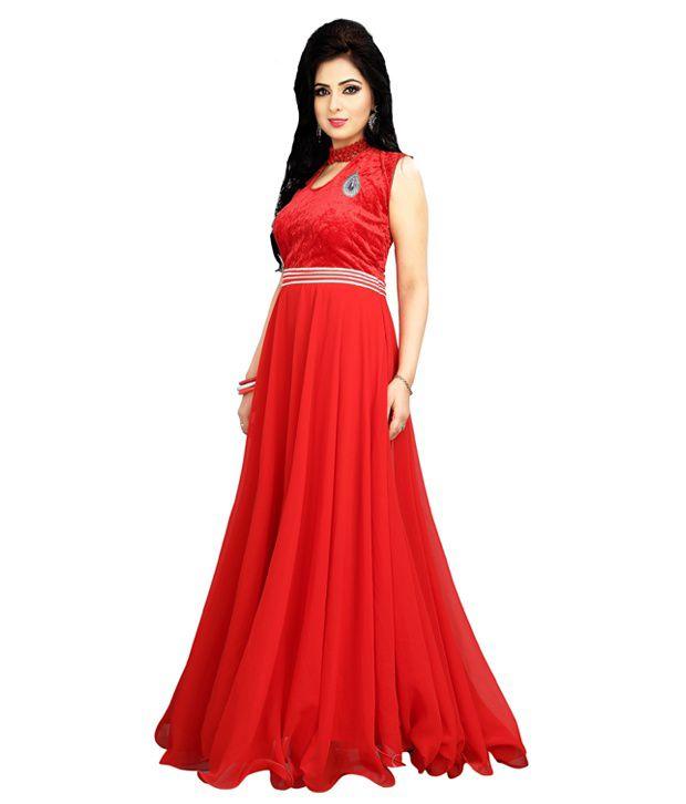 Bhanderi Enterprise Red Georgette Gown Buy Bhanderi