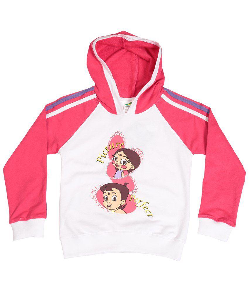 Chhota Bheem White & Pink Cotton Hooded Sweatshirt