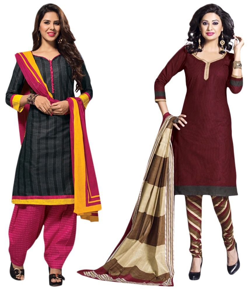Drapes Pack of 2 Brown & Black Unstitched Dress Material with Dupatta