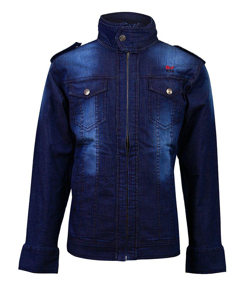 Gini & Jony Blue Polo Neck Full Sleeves T-Shirt
