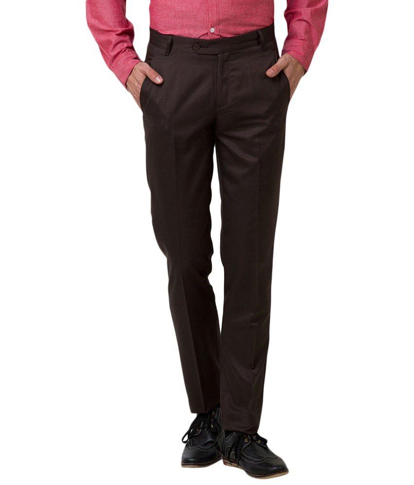 Yepme Brown Warren Formal Trousers