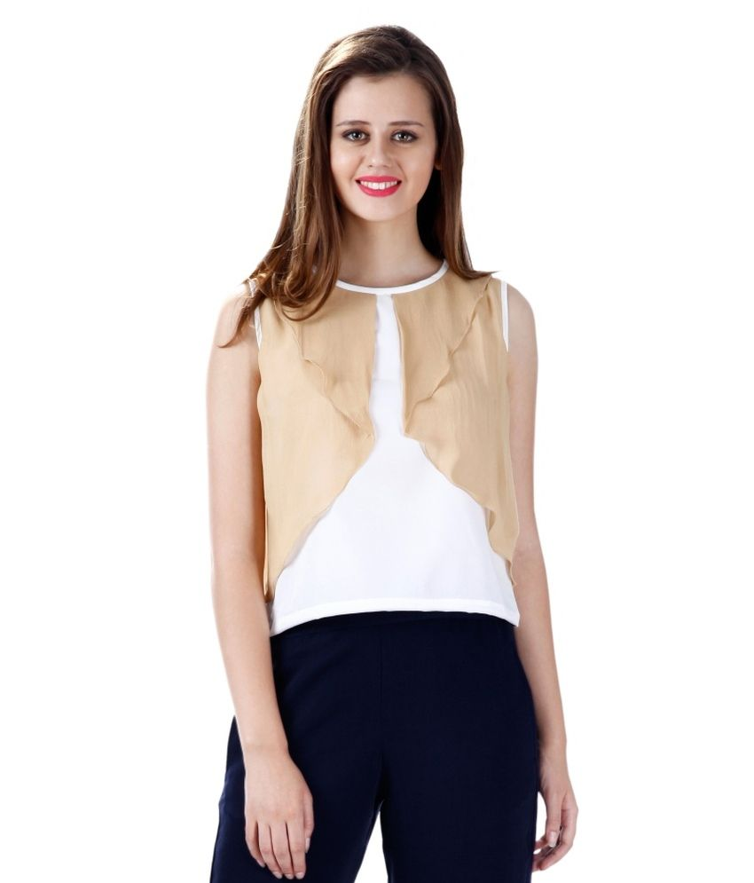 Miss Chase Poly Crepe Regular Tops   Beige