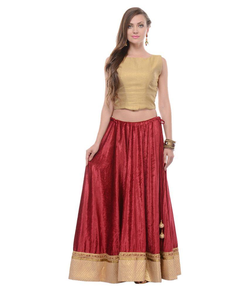 Buy Nika Maroon Velvet Maxi Skirt Online at Best Prices in ...