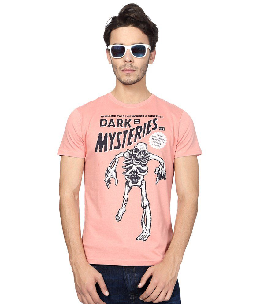 People Pink & Black Casual T Shirt